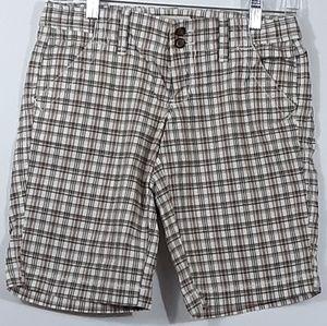 Old Navy Bermuda Cotton Shorts Brown Peach Plaid